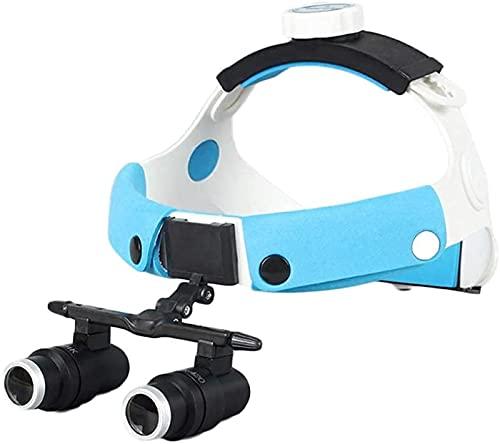 dh-2 Lupa con luz, lupas binoculares dentales médicas, Lupa quirúrgica médica 4X 6X con Faro LED para estomatología, ginecología