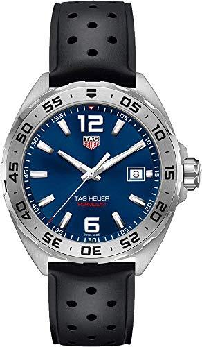 Tag Heuer Formula 1 Blue Dial Steel Men's Watch with Black Rubber Strap WAZ1118.FT8023
