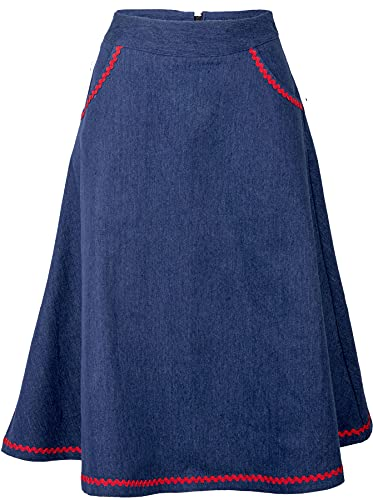 Küstenluder Damen Rock Kiera Folklore Denim Jeans Swing Rock Blau M
