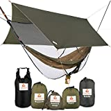 Cushy Camper Premium Hammock with Rain Fly, Bug Net, Tree Straps, and Dry Bag - Complete Camping Hammock System with Mesh Bug Net - Outdoor Combo Kit with Rainfly Bundle for Backpacking