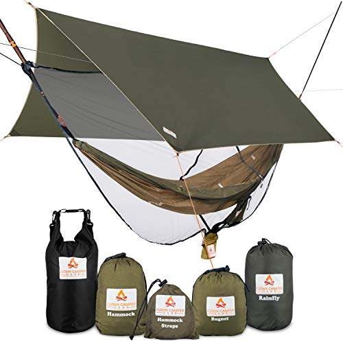 Cushy Camper Premium Hammock with Rain Fly Bug Net Tree Straps and Dry Bag  Complete Camping Hammock System with Mesh Bug Net  Outdoor Combo Kit with Rainfly Bundle for Backpacking