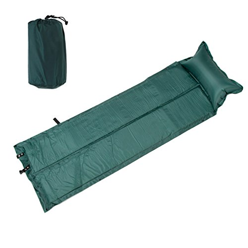 Wealers Camping Sleeping Mat Lightweight Automatic Inflatable Mattress Sleeping Pad Camping Bed with Attached Pillow (Green)