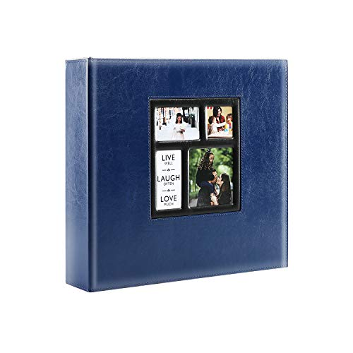 Lanpn Photo Album Self Adhesive, Sticky Photo Picture Albums Ring-Binder with Leather Cover and Magnetic Refillable Pages, Holds 3x5, 4x6, 5x7, 6x8, 8x10 Photos (30 Sheets / 60 Pages, Blue)