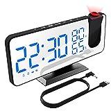 XDHEK Despertador Proyector,Radio Despertador Digital con proyección de 180° Giratorio, 32 FM Radio, Carga USB,4 Brillo de Proyección y Display,Función Snooze Alarma Dual, Temperatura y Humedad