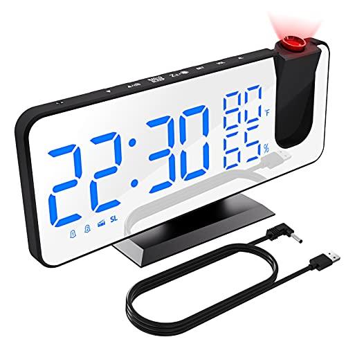 XDHEK Sveglia Digitale, Sveglia da Comodino con Proiettore, FM Radiosveglia, 12/24H Doppi Sveglia con Porta USB, Termometro Umidità Sveglia Multifunzionale per Camera da Letto, Soggiorno