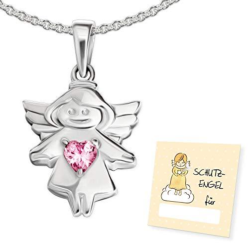 Clever Schmuck Cadena de bautizo para niña, collar de ángel de 16 mm, circonita y corazón rosa sobre vestido y cadena, 40 cm, plata de ley 925, en estuche rosa