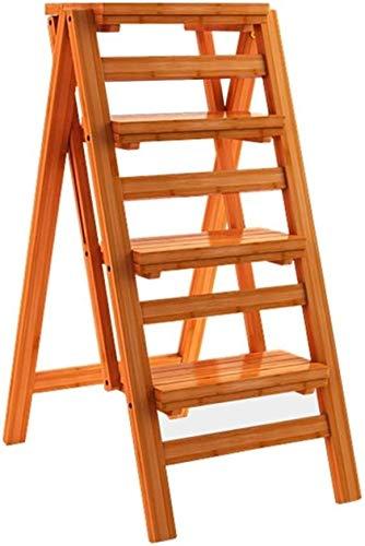 FSZB Taburete Plegable Fino Robusto Escalera con 4 peldaños Plegables, Escalera de Madera, Taburete Alto para niños y Adultos, Altura de la Herramienta de jardín 92 cm, Carga Pesada 150 kg