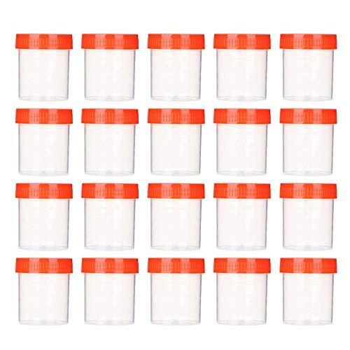 EXCEART 50 Stück Probenbecher Urinprobenbecher Schraubdeckel Urinbecher 40ml Transparent Kunststoff Labor Krankenhaus Zufällige Farbe