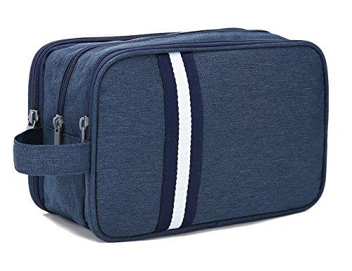 Boic Kulturbeutel für Frauen und Herren, Kulturtasche Kosmetiktasche mit 3 fächern, Kleiner Waschbeutel für männer, Toilettentasche Camping Oxford(Blau)