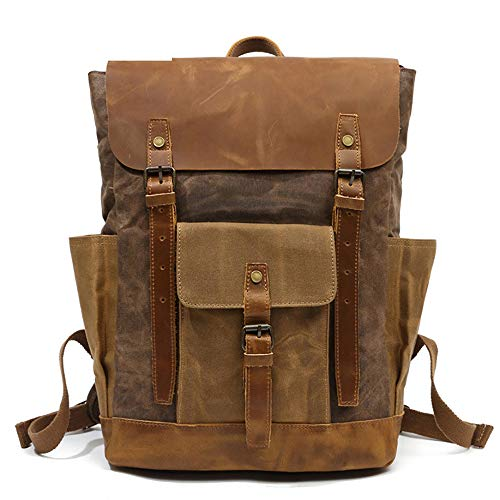 Canvas Backpack, Leather craft Men's Vintagee Full Handmad Crazy Horse Leather Backpack 15.6 inch Laptop Bookbag (Brown)