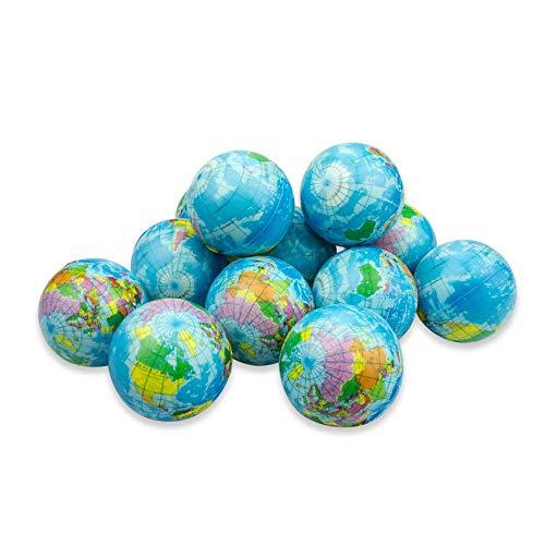 Aosilon Stressball 2.5inch 12pcs Stress Balls - Globus, Weltkarte Ball Stress für Kinder und Erwachsene