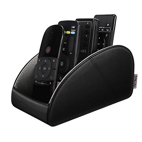 TiMOVO Remote Control Holder Upgraded 4 Compartments PU Leather TV Remote Organizer Remote Caddy Desktop Organizer for Remote Controllers Office Supplies Media Accessories  Black