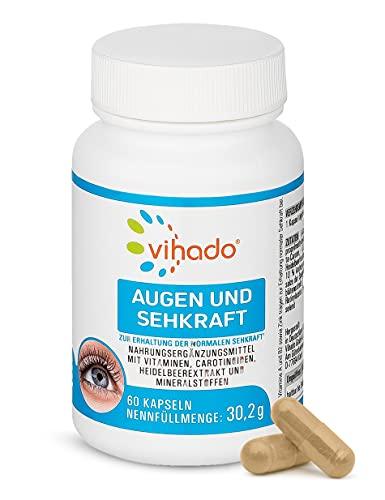 Vihado Augen und Sehkraft – mit Lutein, Beta Carotin, Vitamin A und Zink – Augen Vitamine für den Erhalt normaler Sehkraft – Nahrungsergänzungsmittel mit Pflanzenstoffen für die Augen – 60 Kapseln