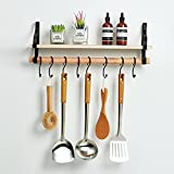 Wall-Mounted Floating Shelf with Removable Towel Bar and 8 Hooks Rustic Wood Wall Mounted Storage Shelf,Garden Decor for Bathroom Kitchen Cafe Bedroom(Black & Natural)