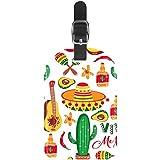 Etiquetas de equipaje para guitarra, sombrero, maracas, de cuero, para maleta de viaje, 1 paquete