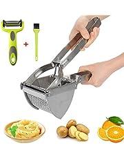HOTLIKE Machacador de Patatas, 3 PCS Trituradora de Patata de Acero Inoxidable Set, Multifuncional Profesional Prensa Patatas con Cepillo, Pelador, Potato Ricer para Vegetales, Frutas