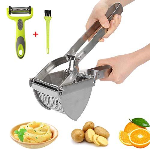 HOTLIKE Schiacciapatate Acciaio, 3 PCS Potato Ricer Set, Schiaccia Patate in Acciaio Inox con Spazzola, Pelapatate, Pressa Professionale per Purè di Patate, Frutta, Verdure