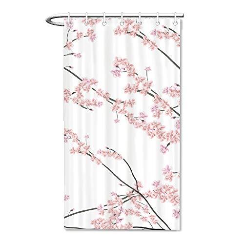 Lplpol Cherry Blossom and Branch Fabric Shower Curtain Set, Modern Art Curtain for Bathroom, Machine Washablewith 12 Hooks 36 x 72 Inch