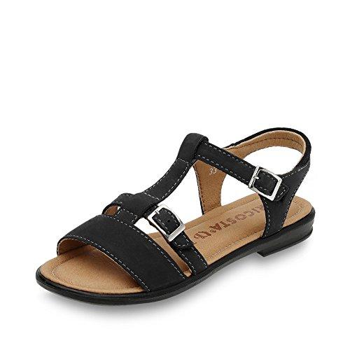 RICOSTA 7021000-170 Kinder Sandale aus Leder mit Klettveschluss Weite Mittel, Groesse 40, schwarz