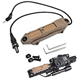 LThyzszb Tactical Remote Dual Pressure Switch for M300/M600 Weaponlight PEQ 15 Tape Switch Accessories for Mlok/Keymod/20mm Picatinny Rail Mount. (Tan)