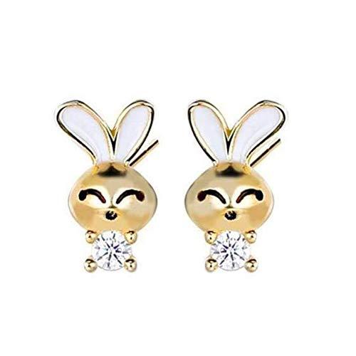 LKITYGF Maravilloso S925 Accesorios de Plata esterlina Pendientes de Conejo Lindo Animal Coreano Salvaje epoxy Zircon Pendientes Oro