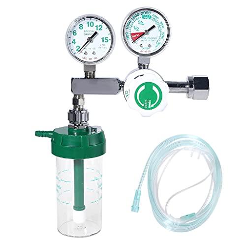 Grbewbonx Regulador de presión de oxígeno O2 válvula reductora de presión con humidificador seco botella y tubo CGA-540 latón y aleación de aluminio
