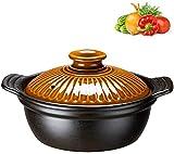 HSWYJJPFB Cazuelas Induccion Barro Platos para cazuela con Tapas Olla para cazuela Olla para Sopa casera - Cazuela de Arcilla de 0.8L / 1.2L / 1.5L, Resistente al Calor, Ideal para Cocina clásica
