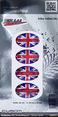 Bike Label 300531N - Pegatina 3D con bandera de Reino Unido (40 x 25 mm), color cromado