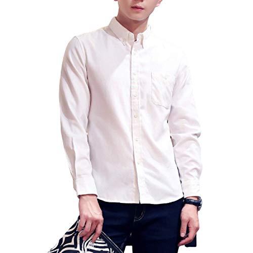 Camisa de Manga Larga de Gran tamaño de Color sólido para Hombre, Solapa con Muesca a la Moda, Trabajo de Oficina, Informal, cómoda Camisa Simple con Bolsillo 3XL