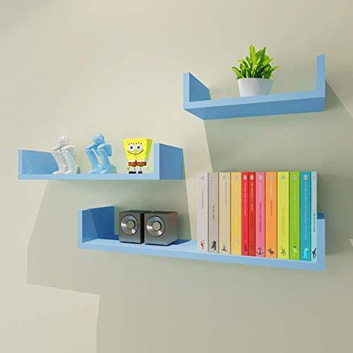Drijvende wandplank, wandrek, houder, magazijnrek, woody, boekenrek, opslag, bakken, kleurproces, achtergrond, muur, woonkamer, slaapkamer, ornament, multifunctioneel, 6 kleuren blauw