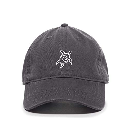 Sea Turtle Baseball Cap Embroidered Cotton Adjustable Dad Hat Charcoal