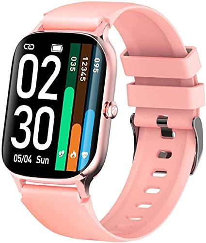 Reloj inteligente para hombres y mujeres 1.7 pulgadas pantalla táctil completa IP67 impermeable podómetro múltiples modos deportivos y responder el teléfono-rosa