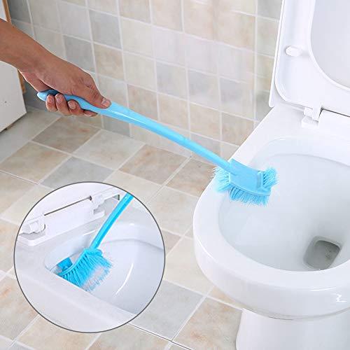 P12cheng Ensemble de brosse de toilette et support - Brosse pour le nettoyage des toilettes - Multifonctionnel - Double face - Manche long - En plastique