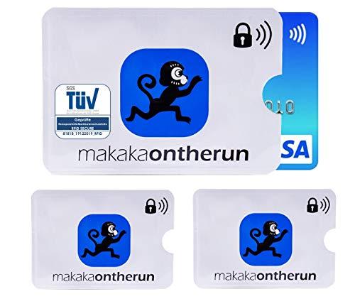 TÜV geprüfte MakakaOnTheRun RFID Blocking NFC Schutzhüllen - RFID Blocker NFC Schutz Kreditkartenhülle für EC-Karte, Bankkarte, Kreditkarte, Personalausweis (MakakaOnTheRun 3)
