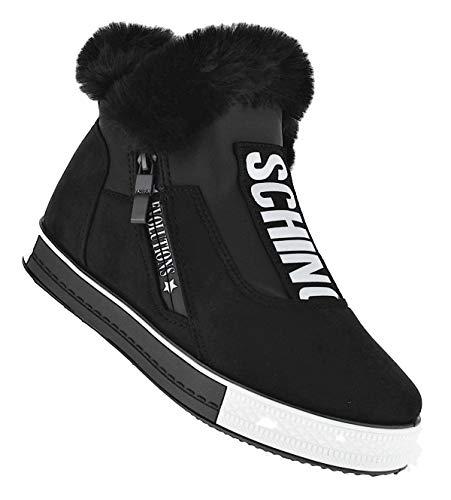Bootsland Winterstiefel Schino Stiefel Winterschuhe Damenstiefel Damen 060, Schuhgröße:37, Farbe:Schwarz