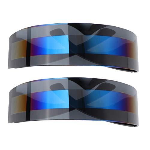TOYANDONA 2 Stück Party Brille Futuristische Cyclops Monoblock Schild Verspiegelte Sonnenbrille Punk Wrap Shield Sonnenbrille für Geburtstag Tanzparty (Grau)