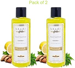 Khadi Meghdoot Hand Sanitizer with Extracts of Aloevera, Neem & Lemon for protection against germs - 210 ml (pack of 2)