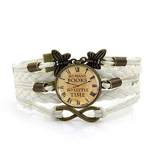 DZX Gewebtes Armband, Retro-Uhrenkunst mit weißem Seil, Zeitedelsteinarmband Mehrschichtiger handgewebter Glaskombinationsschmuck Damenmode Schmuck im europäischen und amerikanischen Stil, Modearmbän