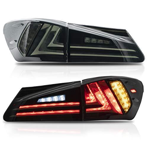 VLAND LED-Rücklichter Kompatibel für 2006-2012 LEXUS IS250 IS350 IS300 IS220D ISF Rauchrücklichter mit Blinker und Rückfahrscheinwerfer Bremslichter