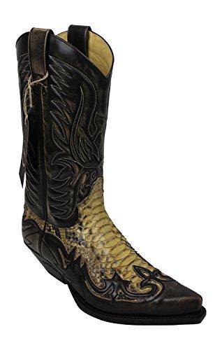 Sendra Cowboystiefel 3241 Antik Schlangenleder incl. Roy Dunn´s Lederfett (42)