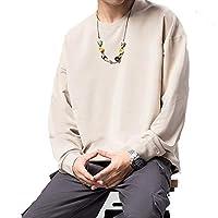 KTYXGKL ユニセックスソリッドカラーパーカー、ゆったりとしたラウンドネックトップ、様々な色のセーター、10代の若者や大人に適しています。 (Color : Beige, Size : Medium)