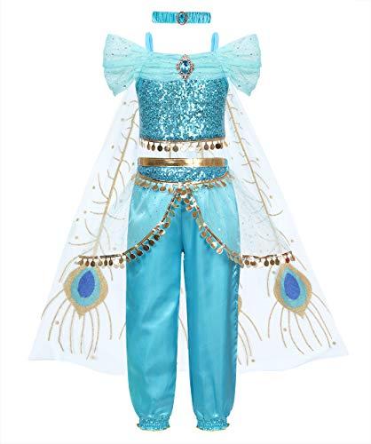 Jurebecia Disfraz de princesa para nia, vestidos de fiesta, top corto con lentejuelas y pantalones para nias, pantalones largos, borlas de tul, trajes de cosplay y cetro de corona
