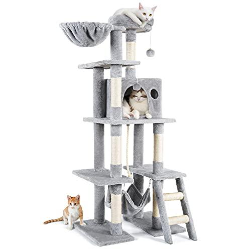 La mejor calidad: Árbol para Gatos,155CM Arbol Rascador para Gatos con Nidos