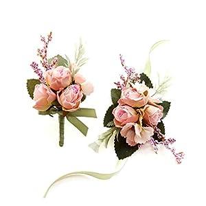 Silk Flower Arrangements Blush Pink Boutonniere and Wristlet Corsage Set - Pink Rose Artificial Flower Corsage Wristlet for Wedding and Homecoming - Shades of Pink, Green - Silk Corsages and Boutonnieres Set (Blush Pink)