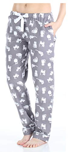 PajamaMania Women's Cotton Flannel Pajama PJ Pants with Pockets, Grey Cats, XL