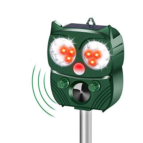MOHOO Ultraschall Abwehr mit Solarbetrieb und Blitz Katzenschreck Solar für Garten Wetterfest 5 Modus Einstellbar Tiervertreiber gegen Katzen, Hunde, Marder, Mäuse, Tierabwehr, Schädlinge usw