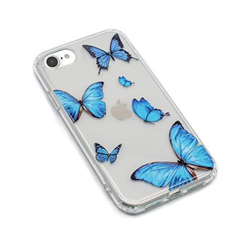 HolaStar - Cover ibrida ultra sottile per iPhone 7/8/SE 2020, motivo farfalla blu con cristallo trasparente
