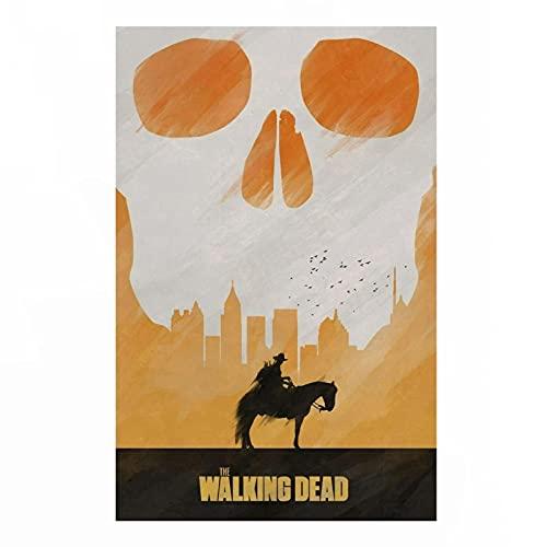 Sanguolun Cuadro En Lienzo The Walking Dead Survival Alternative Undead Zombie Post Apocalipsis Rick Daryl Dixon Serie de programas de televisión 60x90cm