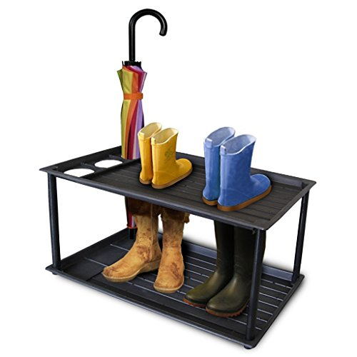 Innover  Two-Tier Boot Tray with Umbrella Stand Multi-Purpose Shoe Rack Entryway Organizer