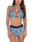 UMIPUBO Conjuntos de Bikinis para Mujer Bikini Push Up de Dos Piezas Traje de baño de Cintura Media Trajes de baño Traje de baño Halter Ropa de Playa Conjuntos de Bikinis Tallas Grandes(Azul, S)